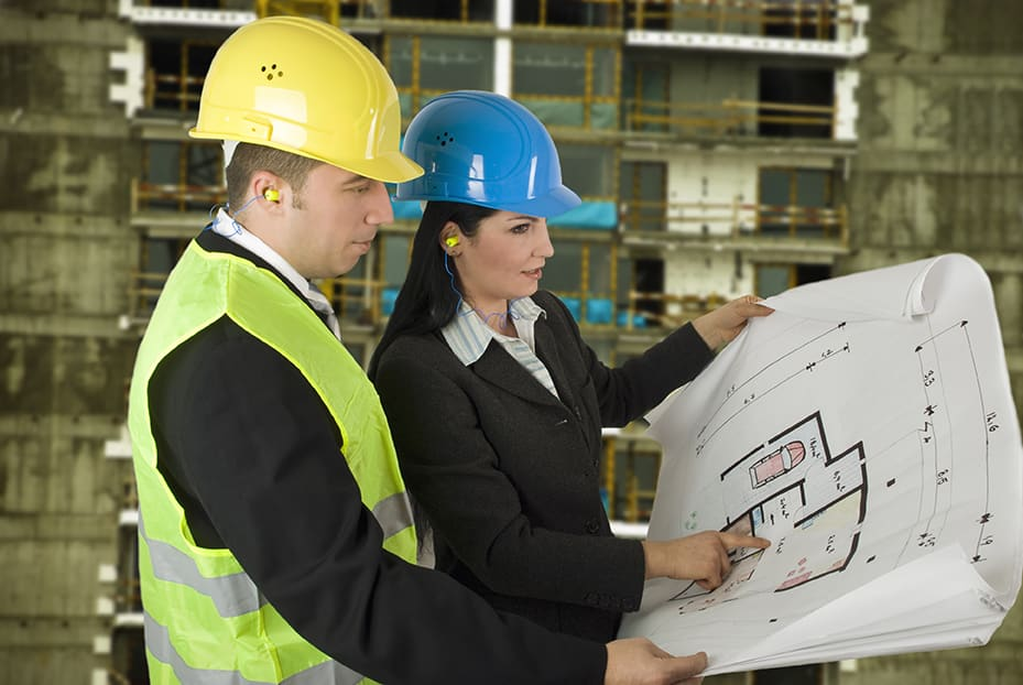 construction manager and client review plans